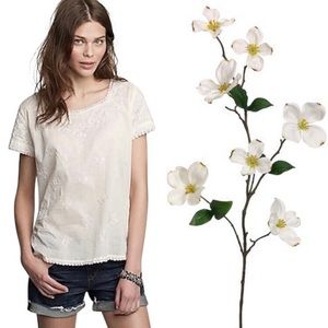 J. Crew Fiesta floral cotton embroidered blouse S